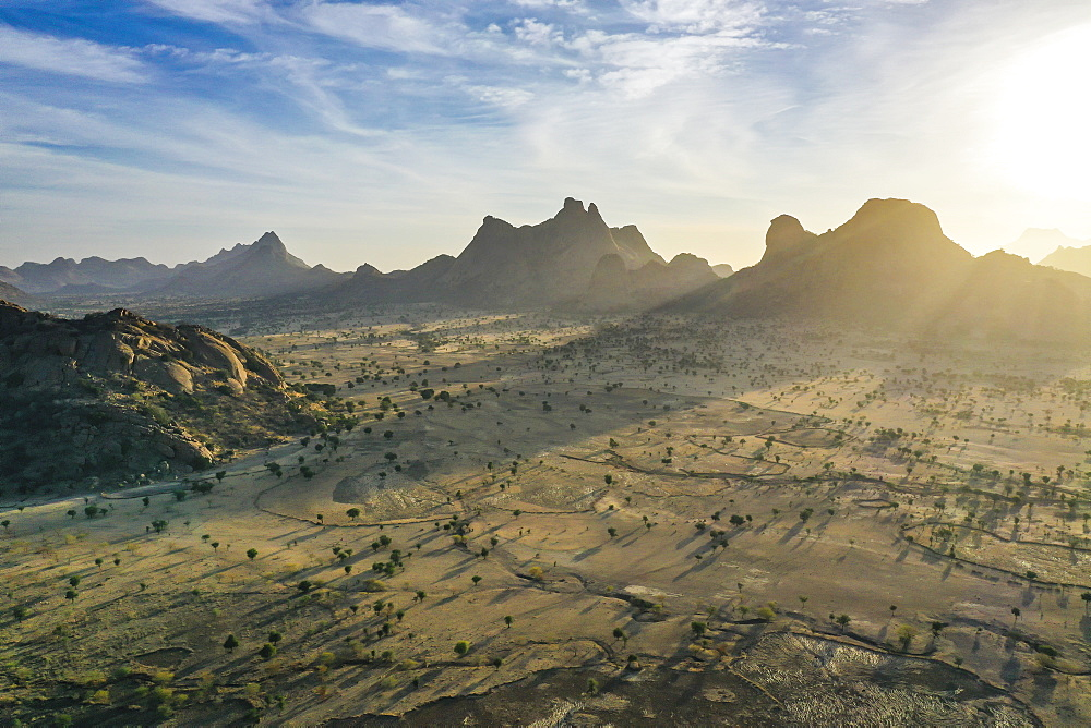 Aerial of beautiful mountain scenery, Sahel, Chad, Africa (drone)