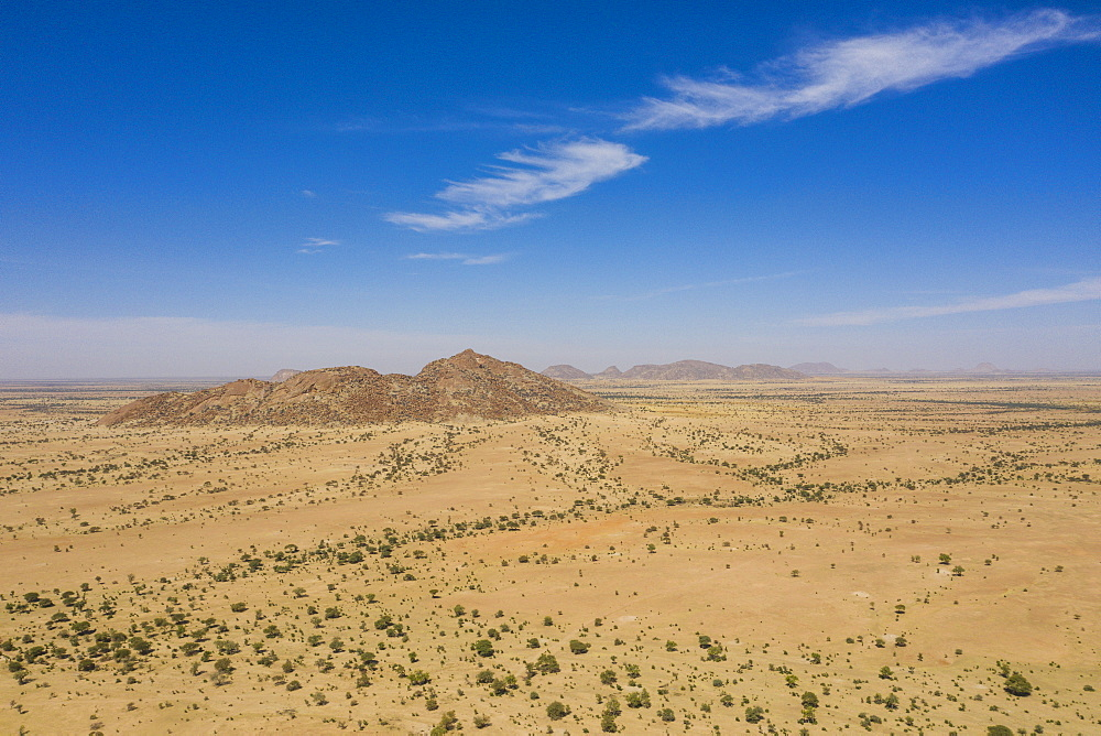 Aerial of the Sahel, Chad, Africa (drone)