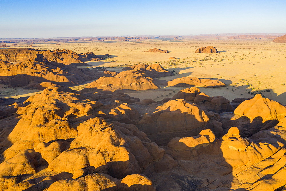 Aerial of the Unesco world heritage sight Ennedi plateau, northern Chad (drone)
