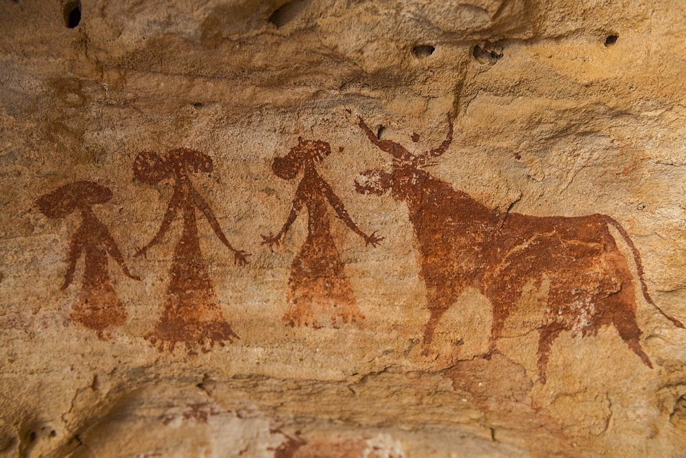 Rock painting in the Unesco world heritage, Ennedi plateau, Chad, Africa