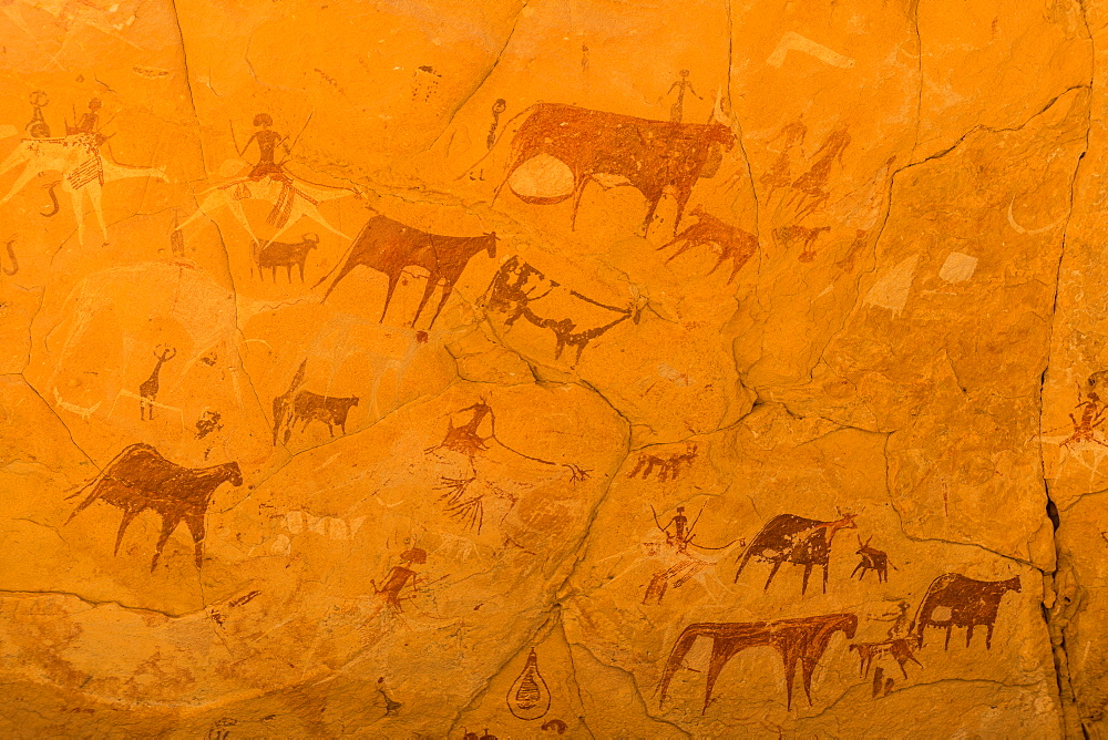 Rock paintings in the Unesco world heritage, Ennedi plateau, Chad, Africa