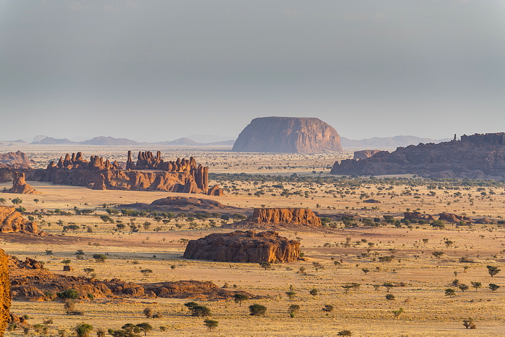 View over the beautiful scenery of the Ennedi Plateau, UNESCO World Heritage Site, Ennedi region, Chad, Africa