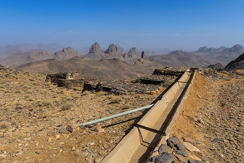 Water system on top of Assekrem, Tamanrasset, Hoggar mountains, Algeria, North Africa, Africa