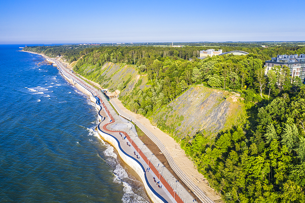 Aerial by drone of the coastline of Svetlogorsk, Kaliningrad, Russia, Europe