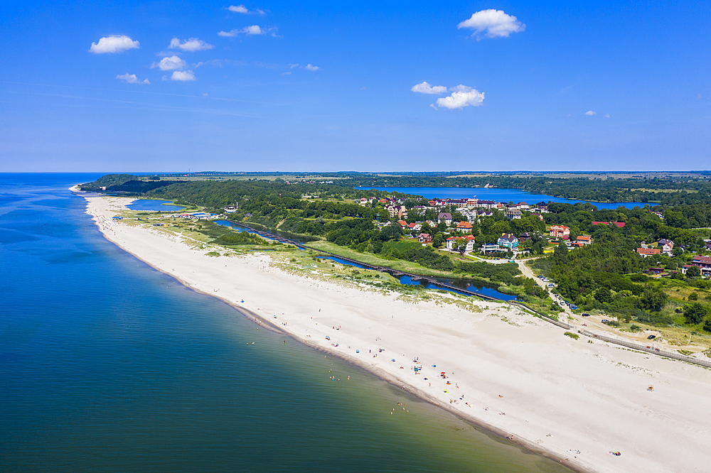 Aerial of the white sand beach of Yantarny, Kaliningrad, Russia (drone)