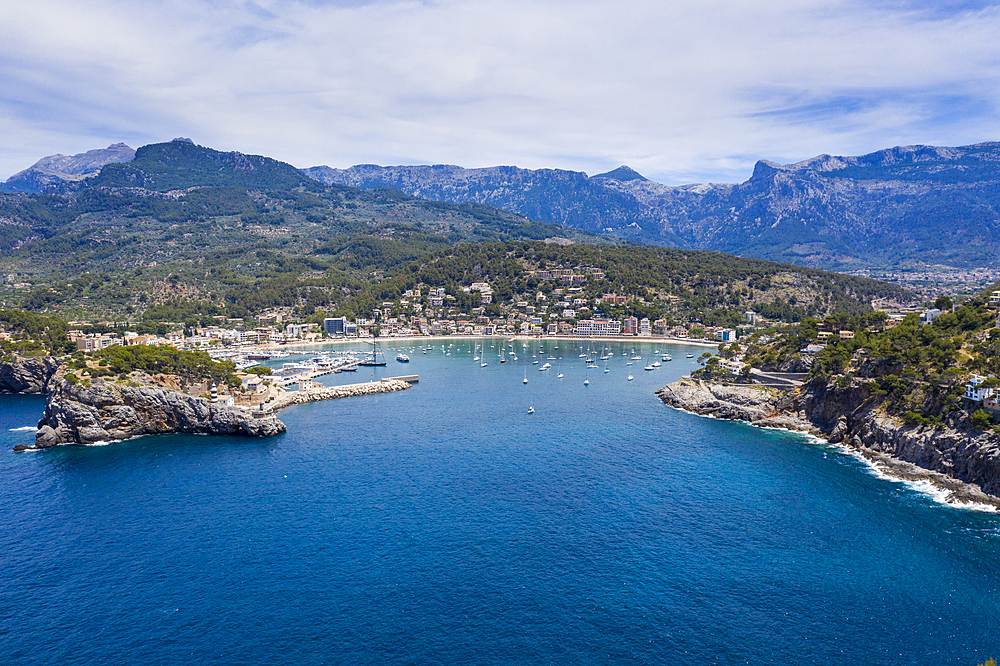 Aerial by drone of Port de Soller, Mallorca, Balearic Islands, Spain, Mediterranean, Europe