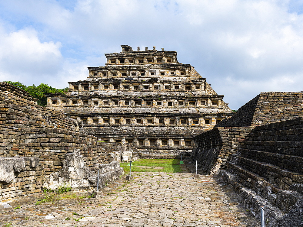 Pyramid of the niches, Unesco world heritage sight pre-Columbian archeological site El Tajin, Veracruz, Mexico