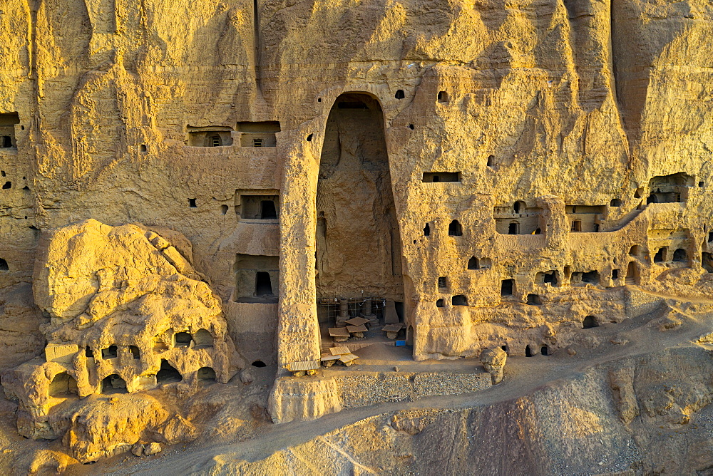 The site of the great Buddhas in Bamyan (Bamiyan), taken in 2019, post destruction, Afghanistan, Asia