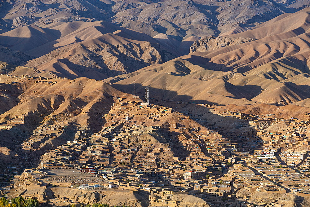 View over Bamyan, Shahr-e Gholghola or City of screams ruins, Bamyan, Afghanistan (drone)