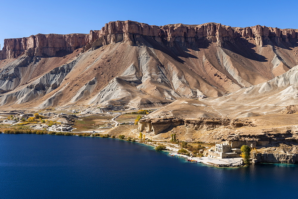 Overlook over the deep blue lakes of the Unesco National Park, Band-E-Amir National Park, Afghanistan - 1184-3453