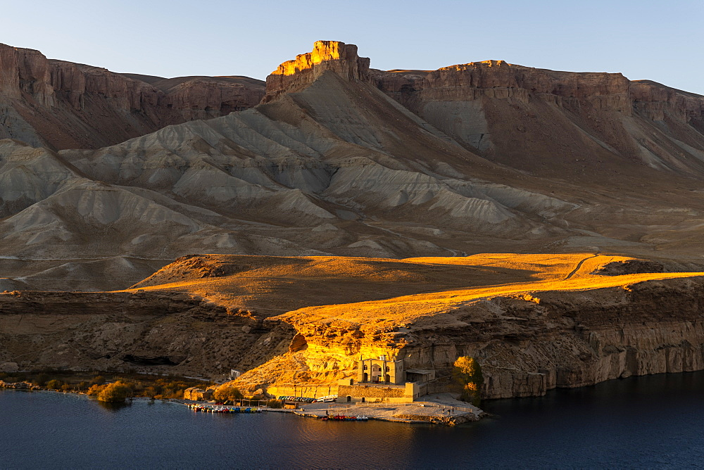 Sunset over the deep blue lakes of the Unesco National Park, Band-E-Amir National Park, Afghanistan