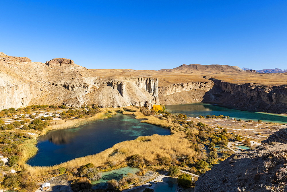 Overlook over the deep blue lakes of the Unesco National Park, Band-E-Amir National Park, Afghanistan - 1184-3457