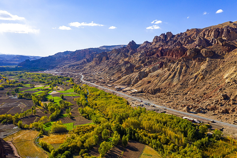 Aerial of Shahr-e Zuhak. the red city, Bamyan, Afghanistan (drone) - 1184-3459