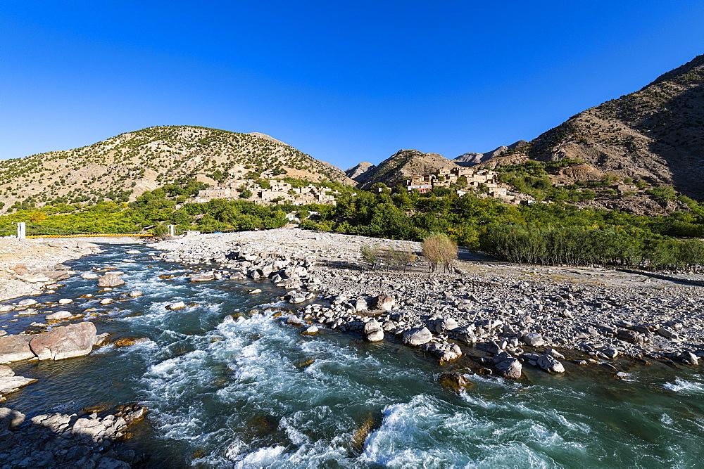 Panjshir river flowing through the Panjshir Valley, Afghanistan - 1184-3503