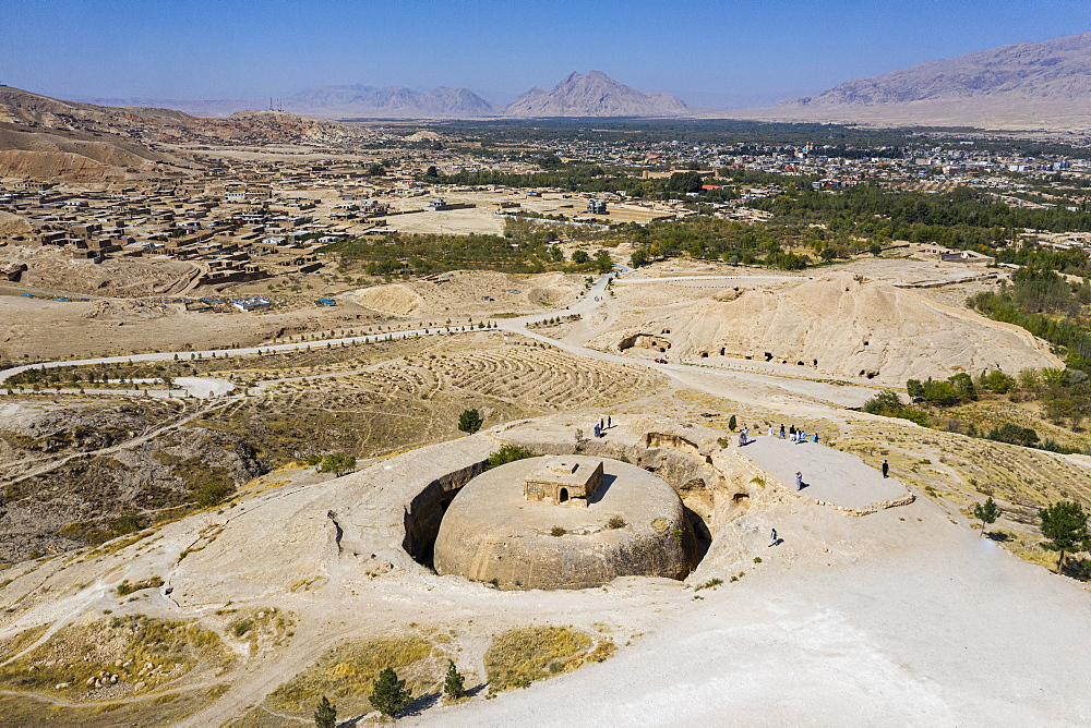 Aerial of the Takht-e Rostam stupa monastery complex, Afghanistan, Asia