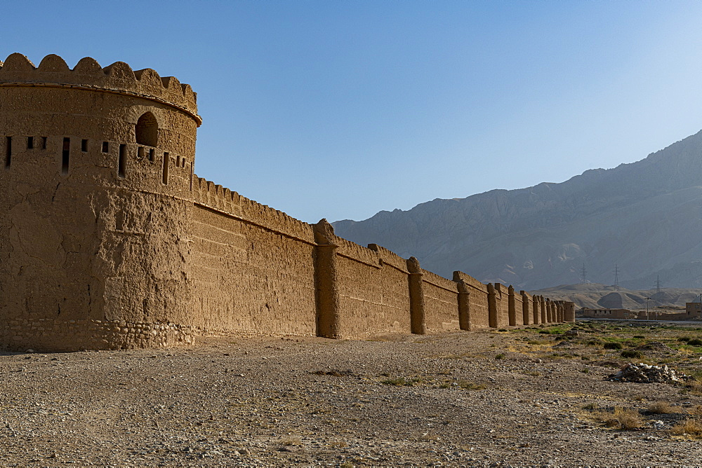 Outer walls of the Indian style Tashkurgan Palace former summer palace of the king, outside Mazar-E-Sharif, Afghansitan