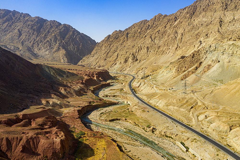 Aerial of the Samangan valley, Afghanistan - 1184-3513