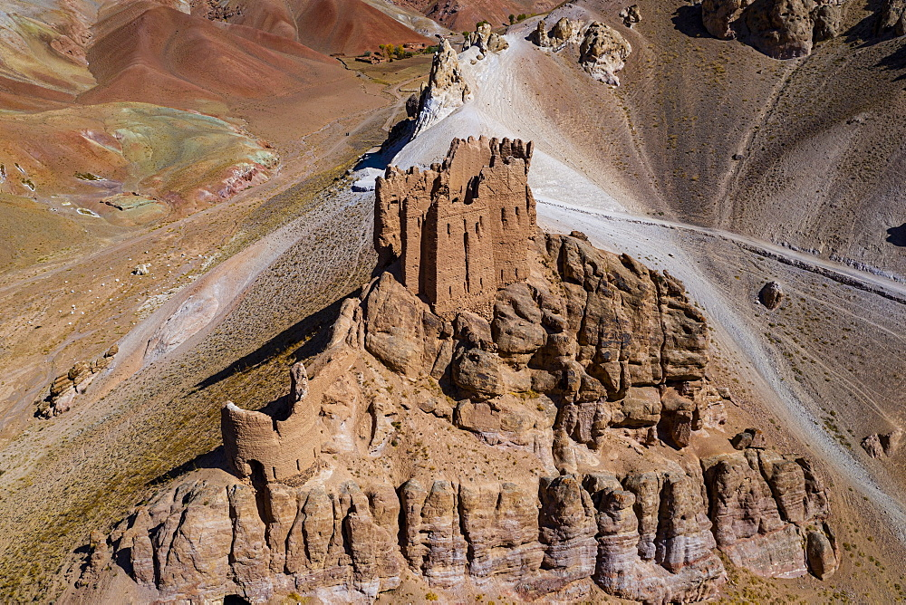 Aerial of Gohargeen fort, Yakawlang province, Bamyan, Afghanistan (drone)