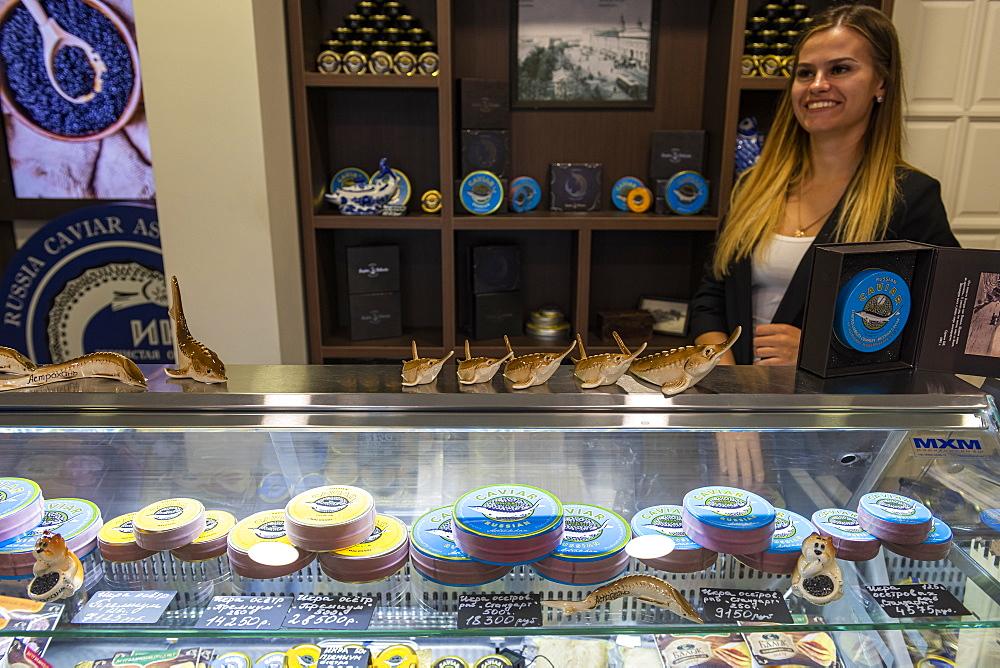 Caviar for sale, Astrakhan, Astrakhan Oblast, Russia, Eurasia