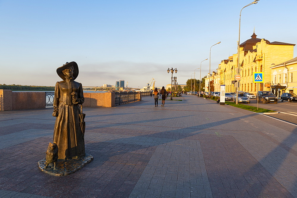 Dama S Sobachkoy monument at the volga river, Astrakhan, Astrakhan Oblast, Russia