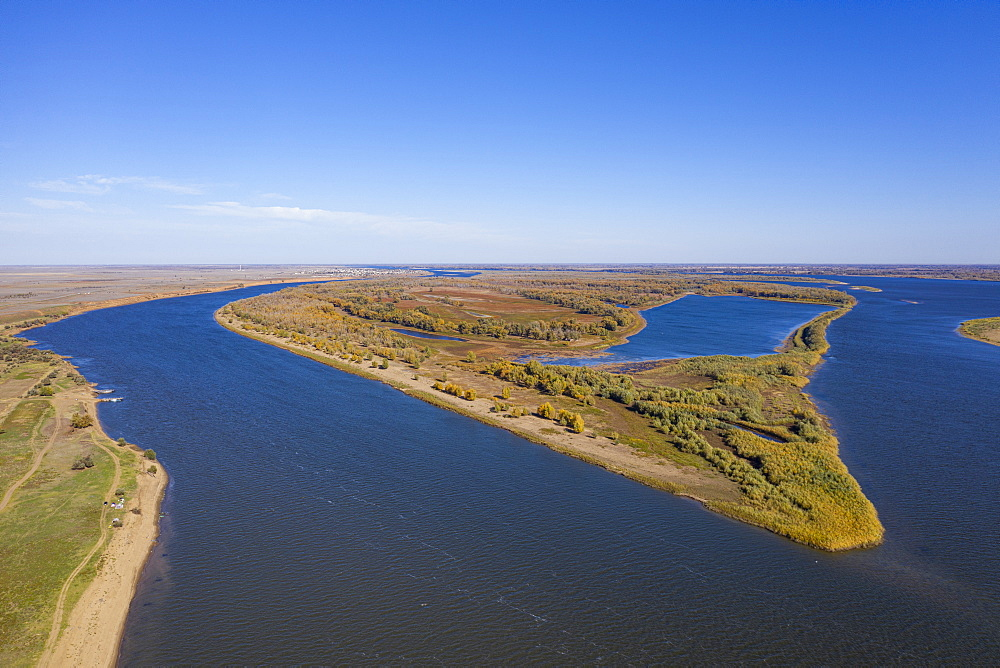 Aerial of the Volga river, Astrakhan Oblast, Russia (drone)