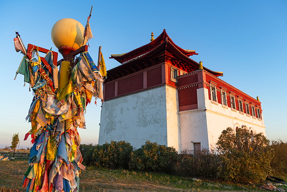 Buddhist prayer flags at the Geden Sheddup Choikorling Monastery, Elista, Republic of Kalmykia, Russia, Eurasia