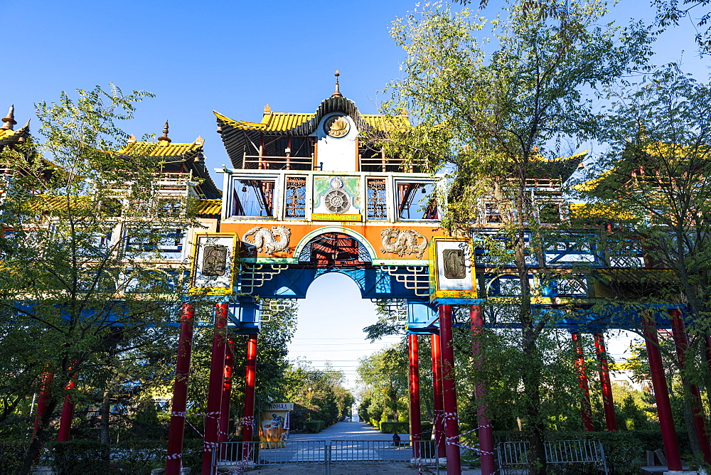 Buddhist gate in a park in Elista, Republic of Kalmykia, Russia