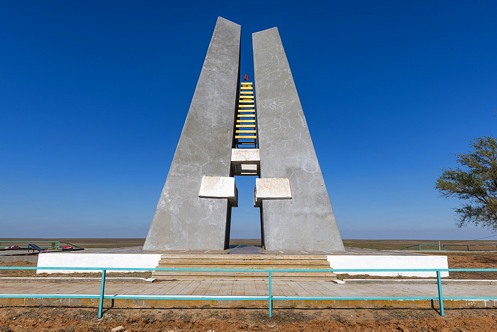 World war two monument in the plains of the Republic of Kalmykia, Russia