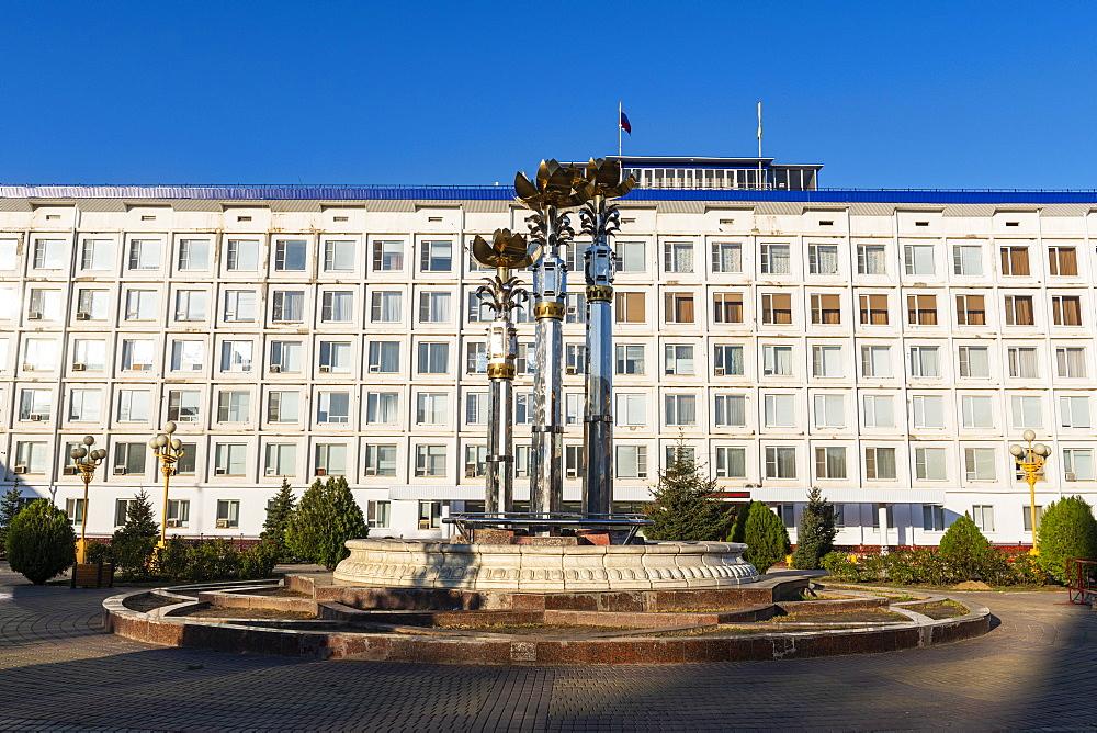 Fountain at Lenin square, Elista, Republic of Kalmykia, Russia
