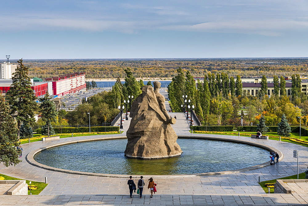 Huge pool with a giant statute on Mamayev Kurgan, Volgograd, Volgograd Oblast, Russia, Eurasia