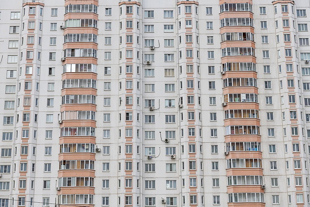 Close up of a huge appartment complex, on a long promenade in Kursk, Kursk Oblast, Russia