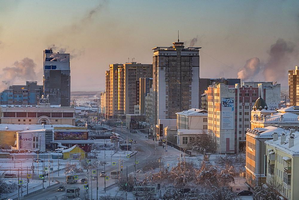 View over Yakutsk, Sakha Republic (Yakutia), Russia, Eurasia