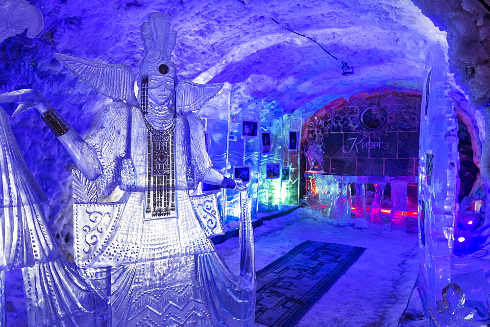 Colourful ice sculptures in the Permafrost kingdom, Yakutsk, Sakha Republic, Russia