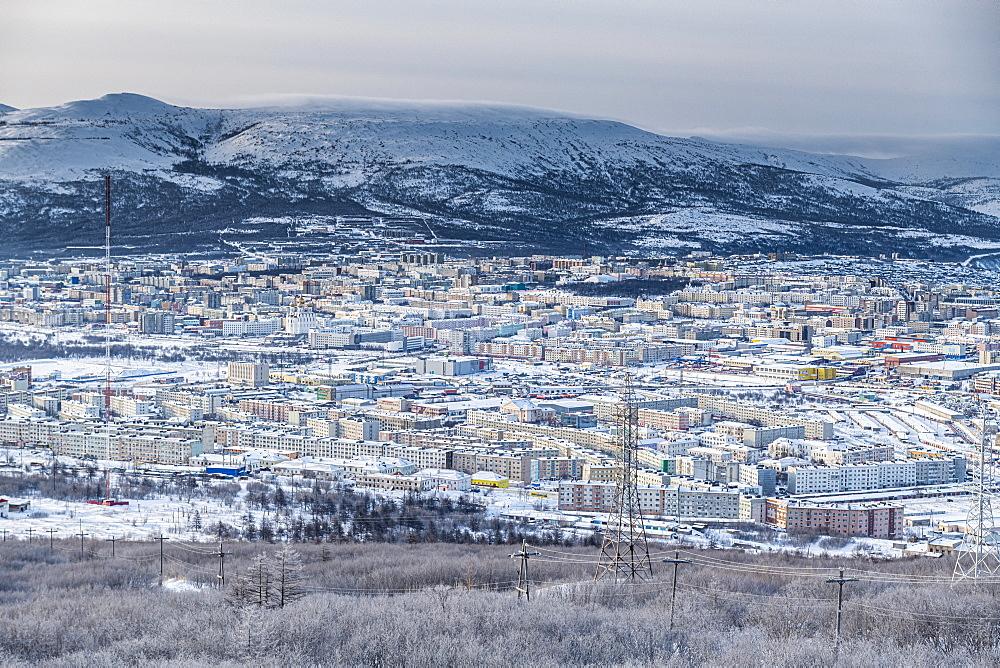 View over Magadan, Magadan Oblast, Russia, Eurasia