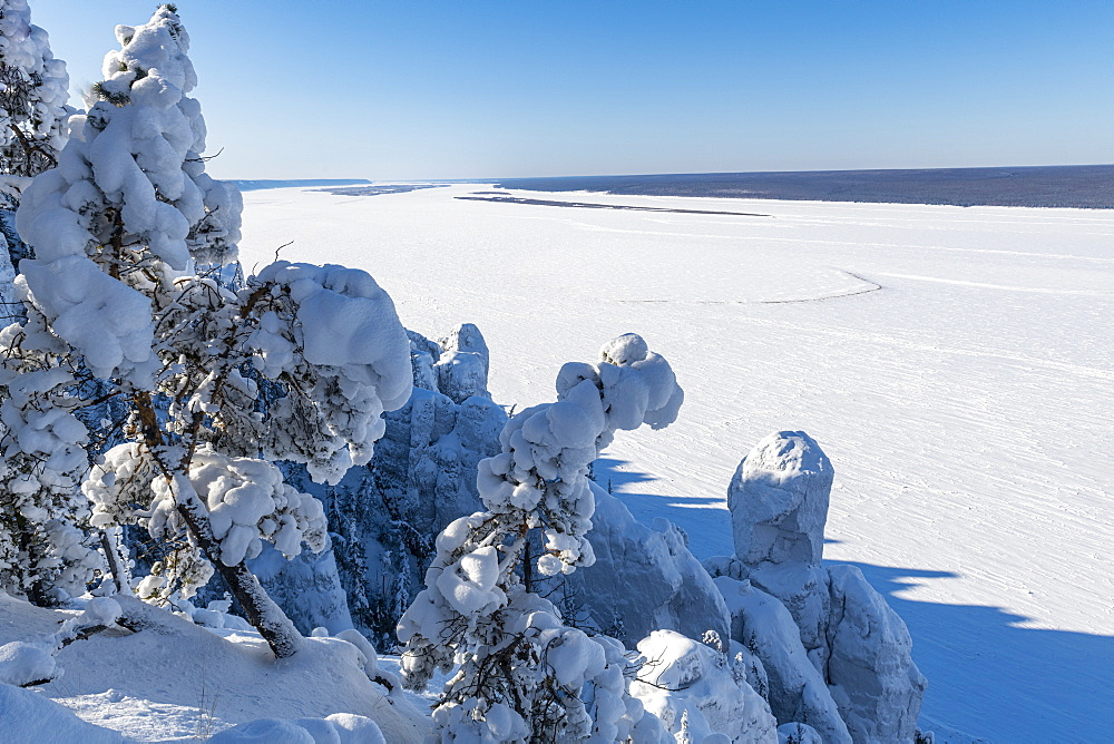 Overlook over the Unesco world heritage site Lena Pillars and the Lena river, Sakha republic, Russia