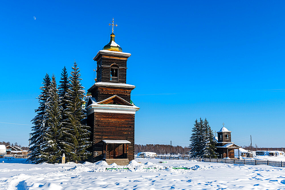 Wooden church, Cherkekhskiy regional museum, Road of Bones, Sakha Republic, Yakutia, Russia - 1184-3780