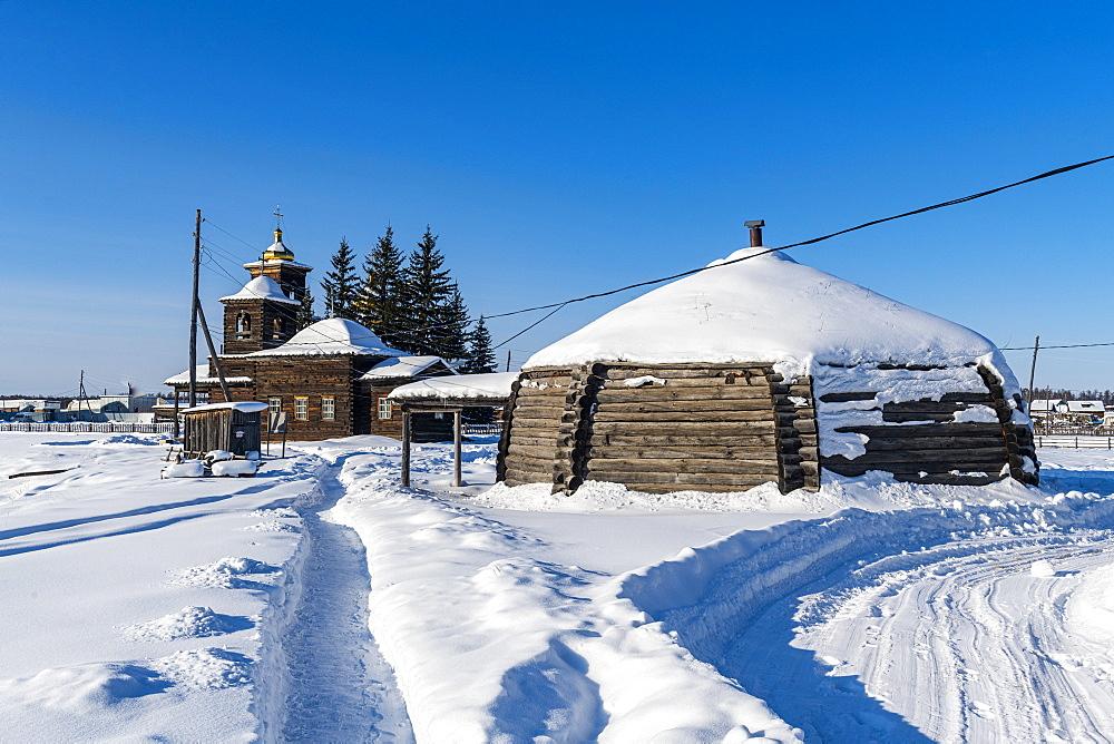 Traditional dwelling, Cherkekhskiy regional museum, Road of Bones, Sakha Republic, Yakutia, Russia