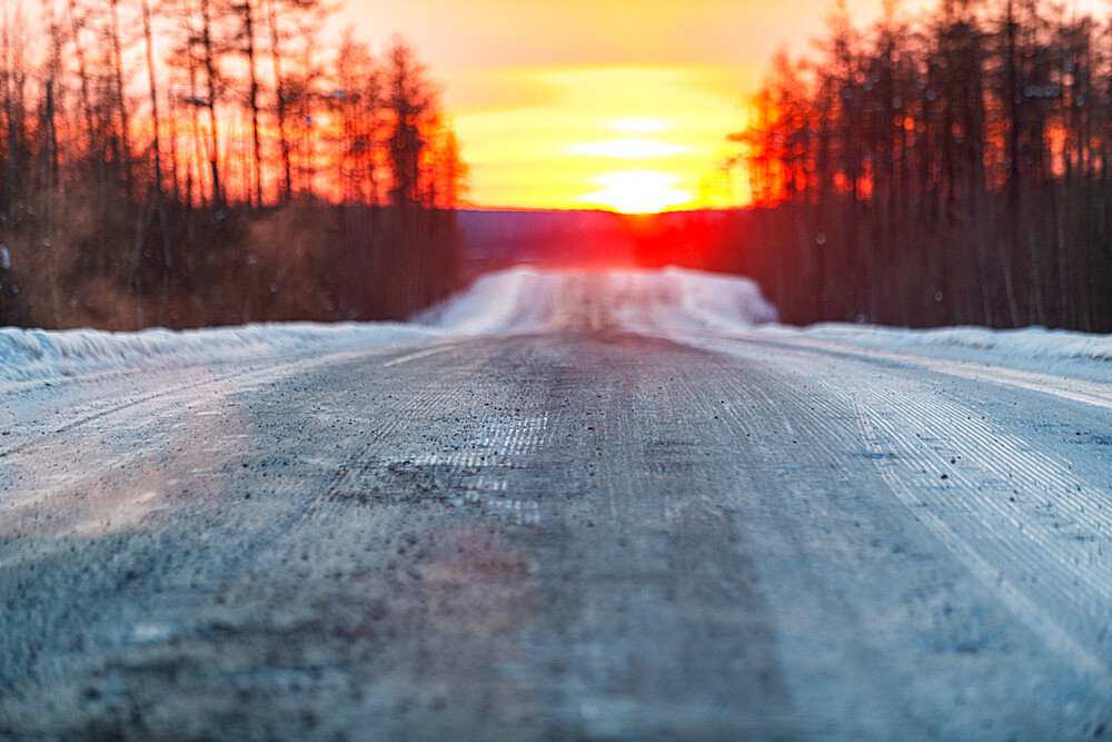 Sunset on the Road of Bones, Sakha Republic, Yakutia, Russia - 1184-3787