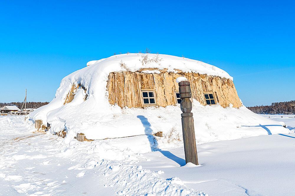 Traditional dwelling, Cherkekhskiy regional museum, Road of Bones, Sakha Republic (Yakutia), Russia, Eurasia