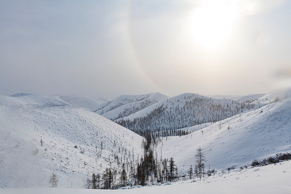 Snow covered mountain pass, Suntar-Khayata mountain Range, Road of Bones, Sakha Republic (Yakutia), Russia, Eurasia