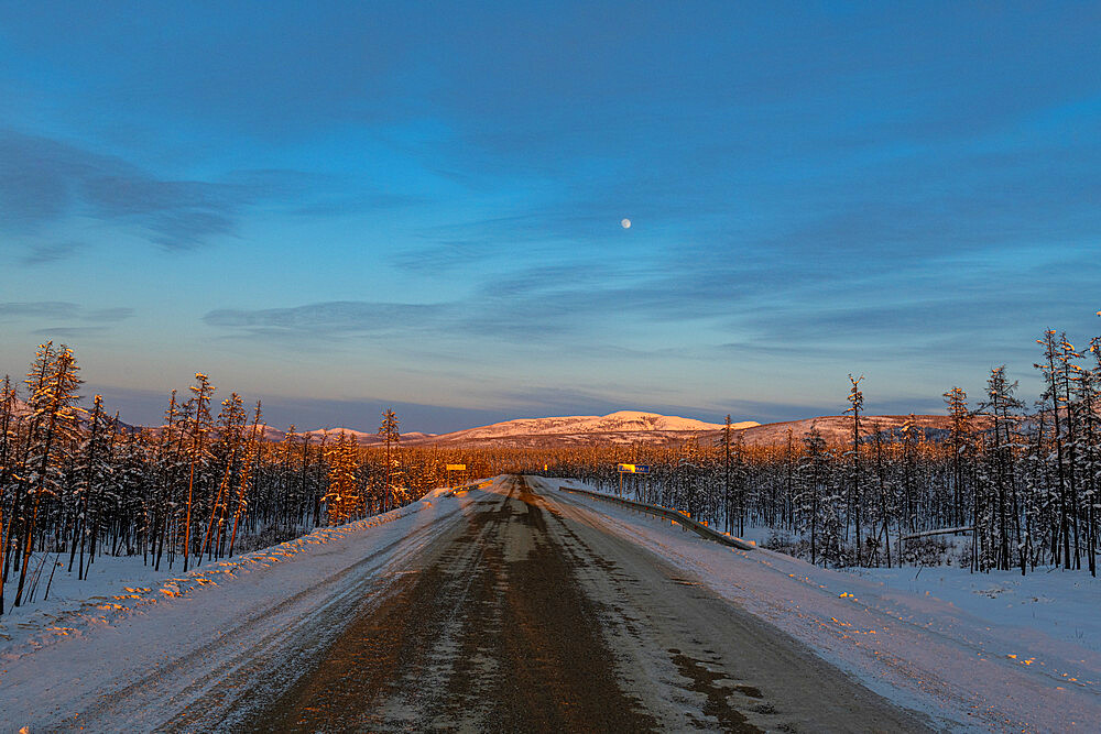 Sunset over the Road of Bones, Sakha Republic (Yakutia), Russia, Eurasia