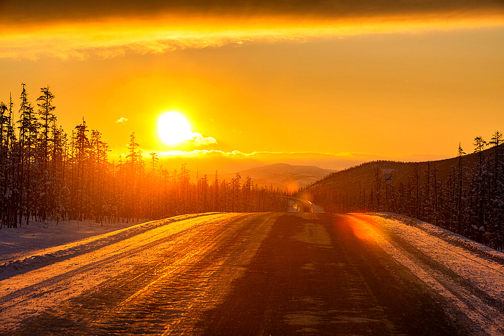 Sunset over the Road of Bones, Sakha Republic, Yakutia, Russia - 1184-3805