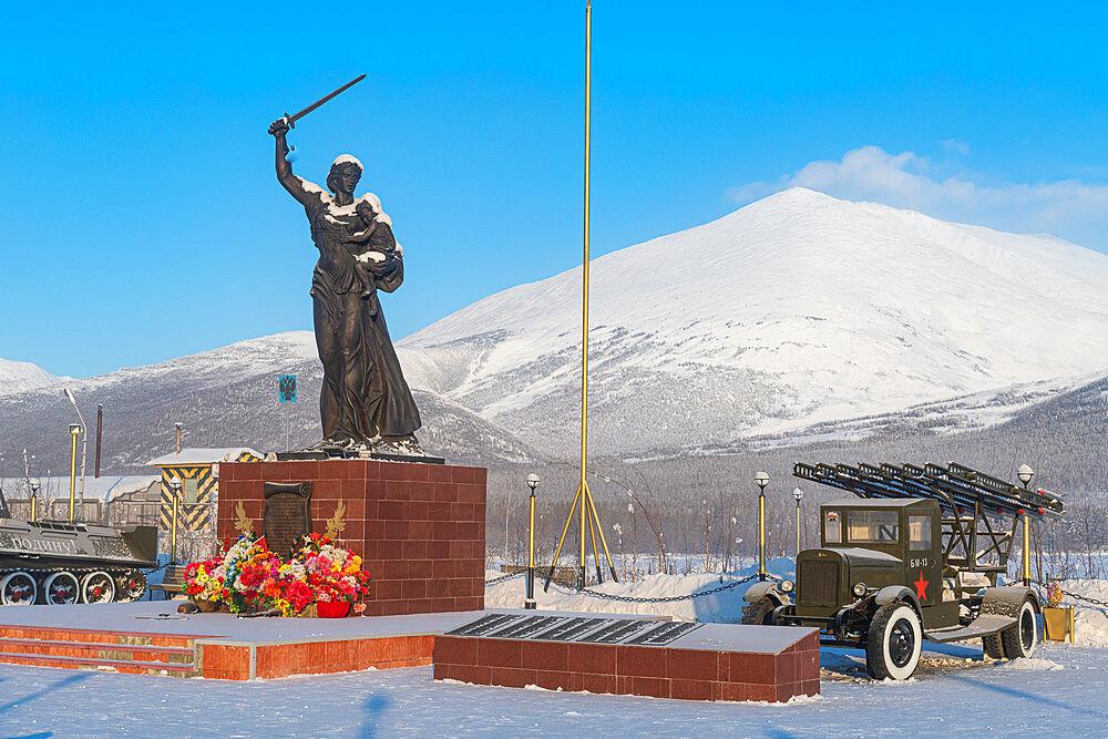 World war 2 monument in Ust-Nera. Road of Bones, Sakha Republic, Yakutia, Russia