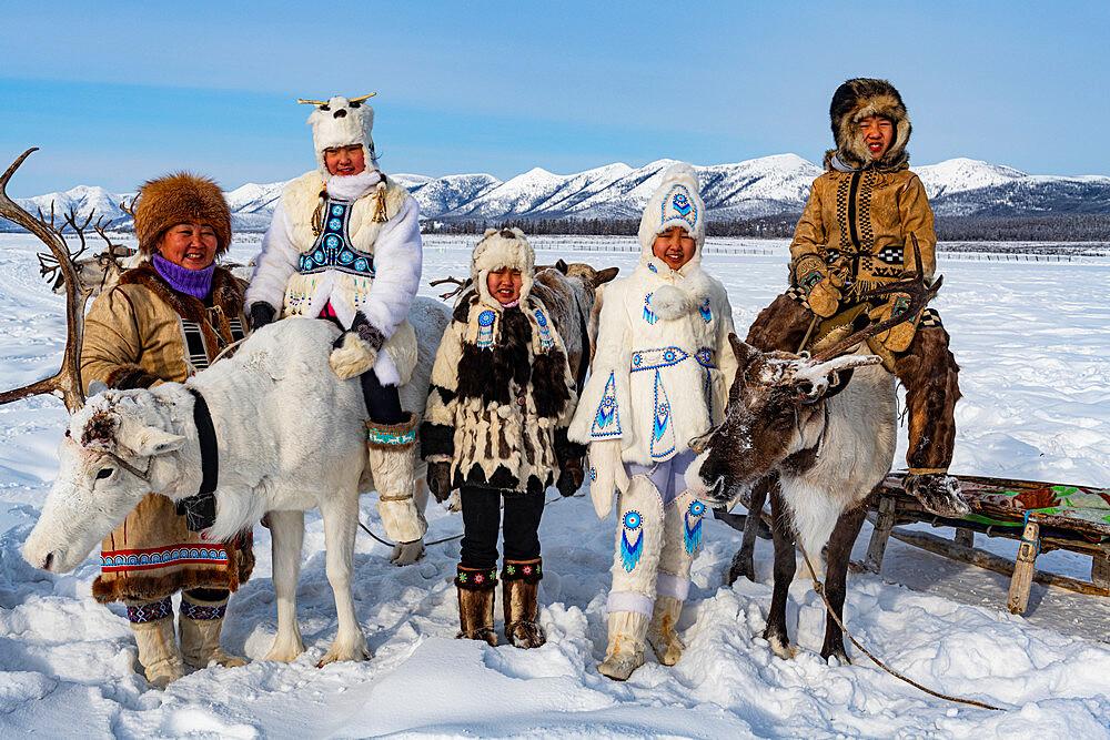 Evenk reindeer breeder family, Oymyakon, Sakha Republic (Yakutia), Russia, Eurasia
