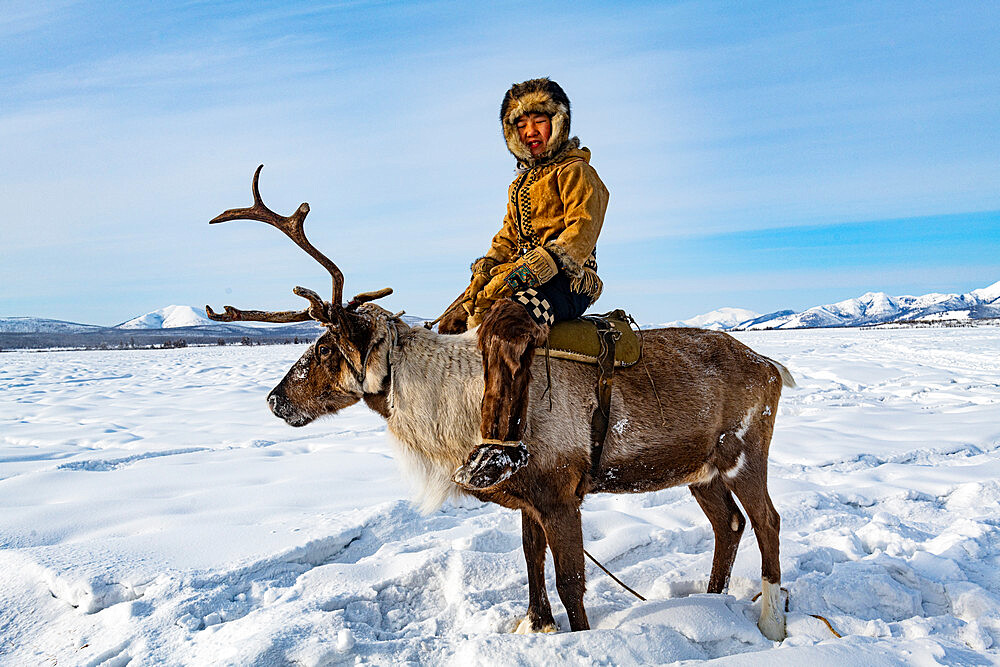 Evenk boy sitting on a reindeer, Oymyakon, Yakutia, Sakha republic, Russia - 1184-3817