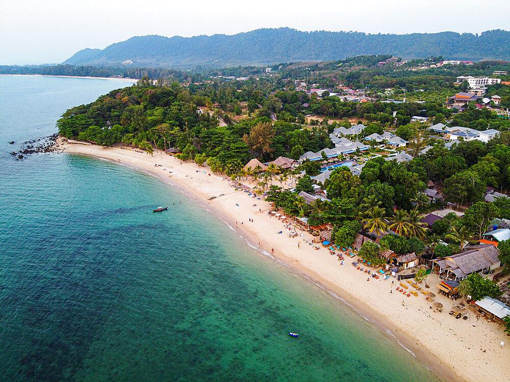 Aerial of Relax Bay beach, Koh Lanta, Thailand, Southeast Asia, Asia