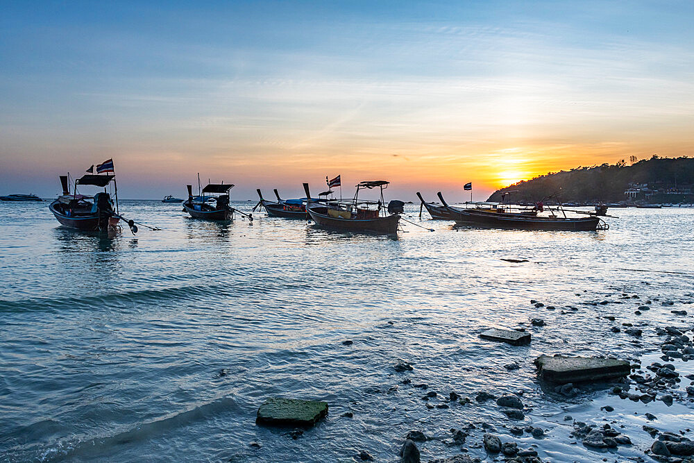 Fishing boats at sunset, Koh Lipe, Tarutao National Park, Thailand, Southeast Asia, Asia
