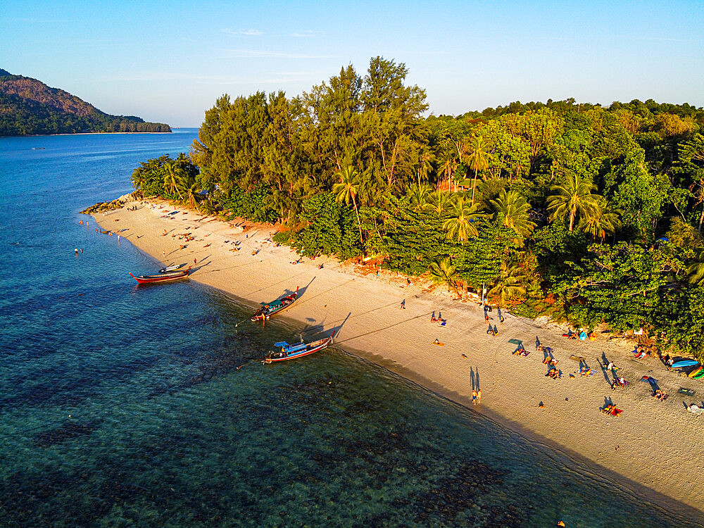 Aerial of the Sunset Beach, Koh Lipe, Tarutao National Park, Thailand, Southeast Asia, Asia