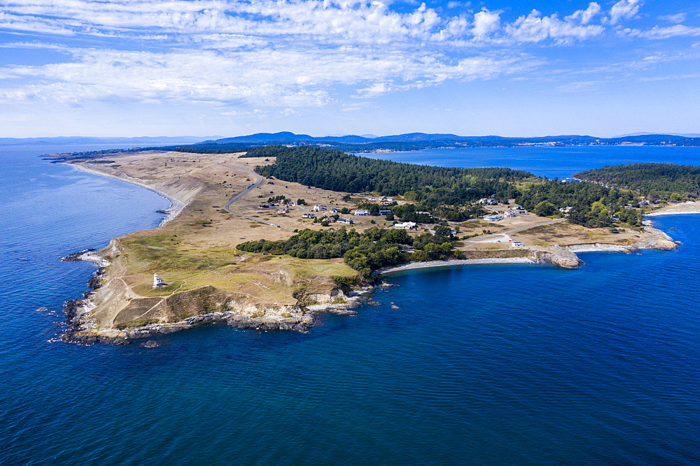Aerial from Cattle Point lighthouse on San Juan island, San Juan islands archipelago, Washington State, United States of America, North America