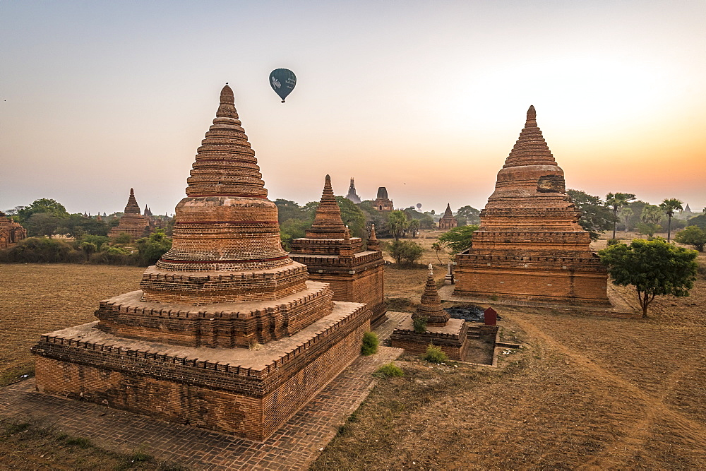 Hot air balloon over Bagan at sunrise, Bagan (Pagan), Myanmar (Burma), Asia